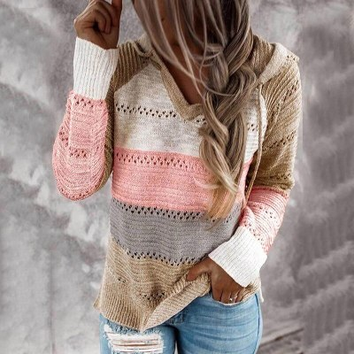New Fall Winter Patchwork Hooded Sweaters for Women Long Sleeve V-Neck Slim Pullover Tops Jumper Plus Size Female Knit Sweaters