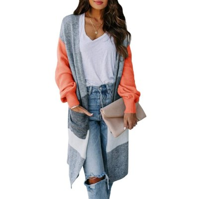 Women Fashion Lightweight Casual Sweater Striped Color Block Draped Loose Cardigan Knit Long Sleeve Open Front Thin Autumn Coat