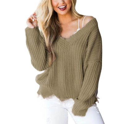 2020 New Fashion Off The Shoulder V-neck Autumn Sweater For Women Fringe Knitted Jumper Female Top Long Sleeve Pullover Knitwear