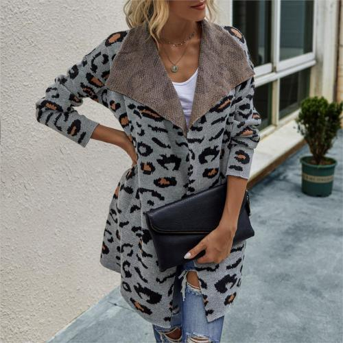 Womens Fashion Long Coat Cardigan Leopard Print Long Sleeve Lapel Pocket Coat Outerwear Knitted Sweater Ladies Autumn Outwear