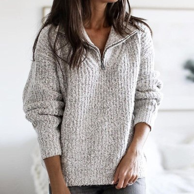 New Fashion Zipper Half Sweater Women Solid Slim Autumn Winter Thick Clothes 2020 Sueter Mujer Basic Fashion Pullovers Dropship