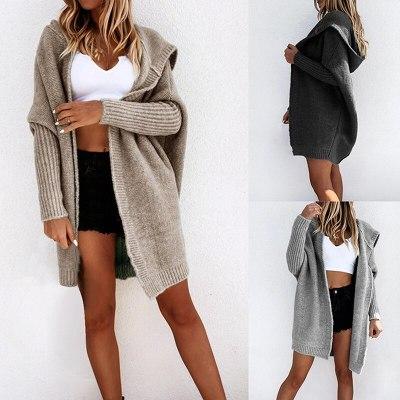 2020 New Autumn Winter Women Long Sleeve Knitted Cardigan Sweater Casual Long Sleeve Outwear Fashion Coat Jackets Solid Women