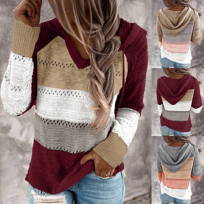 Fashion Tops Women Casual Patchwork V-Neck T-Shirt Long Sleeve Tee Plus Size Hooded Knitted Sweater Sexy Ladies Wild Loose Coat