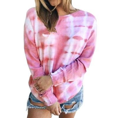 Loose Casual Women Gradient Color Print Tshirt Long Sleeve Autumn 2020 New Fashion Tie-dye Print O-neck Plus Size Female Tops
