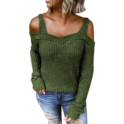 Sexy Solid Color Women Sweater Shoulder Pullover Loose Jumper Winter Autumn Sweater Women Tops Sweater Knitwear Pull Femme Drop