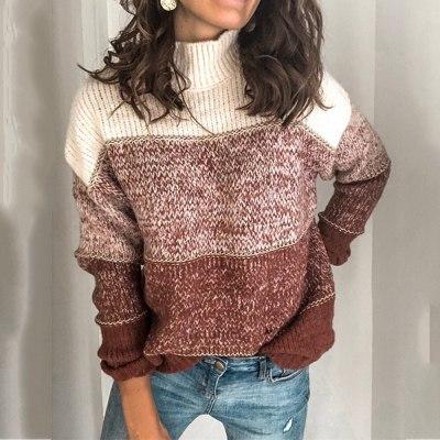 Women Turtleneck Sweaters Autumn Winter Pullovers Jumper Striped Knitwear Long Sleeve Casual Oversized Sweater Female