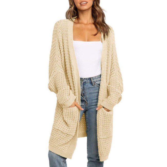 2020 New Womens Open Front Long Cardigan Knit Jacket Long Sweater Autumn Spring Cardigan Lady Casual Knitwear Coat Loose Outwear