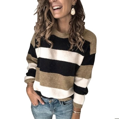 Fashion Women Striped Sweater Autumn Winter O Neck Long Sleeve Sweater Loose Knit Pullover Patchwork Pull Femme Jersey Mujer