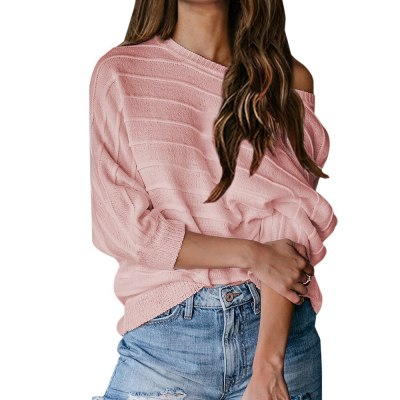2020 Women Soft Autumn O-Neck Sweaters Chic Daily Tops Womens Pullover Sweet Student Striped Harajuku Knitted Loose Outwear
