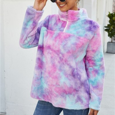 Adisputent Casual Fluffy Hoodies Women Tie-dye Print Zipper Faux Fur Autumn Winter Fleece Sweatshirt Pullover Female Outwear New