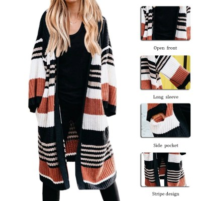 Women Fashion Long Cropped Cardigans Autumn Color Block Long Lantern Sleeve Cardigan Coat Striped Knitted Sweater Coats Female