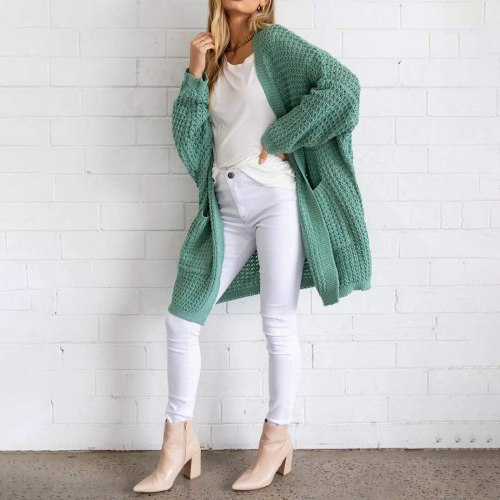 2020 New Womens Open Front Long Cardigan Knit Jacket Long Sweater Autumn Spring Cardigan Lady Casual Knitwear Coat Loose Outwear