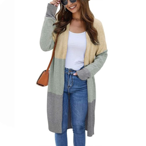 2020 Fashion Women's Spring Autumn Sweaters Open Front Cardigan Long Sleeve Colorblock Knit Sweaters With Pockets