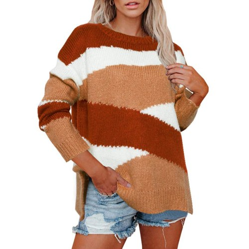 Adisputent Fashion Autumn Winter Knitted Sweater For Women Long Sleeves O-neck Sexy Loose Office Ladies Casual Pullover Sweaters