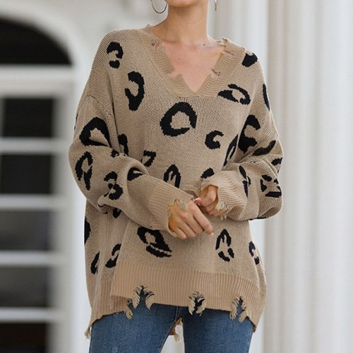 Adisputent Winter 2020 Leopard Print Long Pullovers Sweaters For Women Boho Loose Jumper Pull Femme Long Sleeve Knitted Sweater