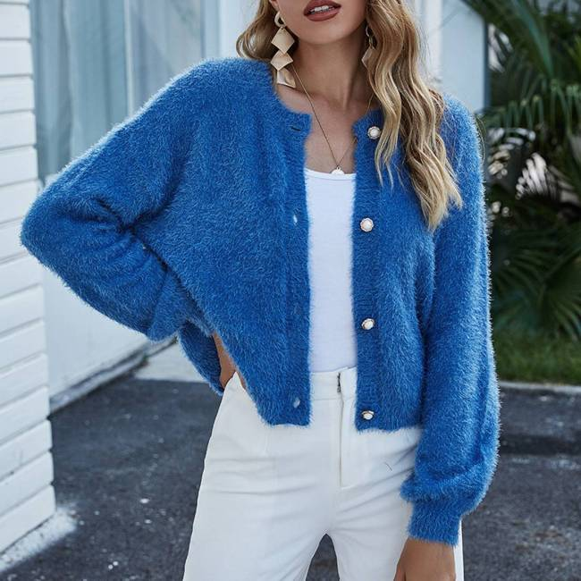 Fuzzy Knitted Short Cardigans Women O Neck Long Sleeve Buttoned Crop Sweaters Knitted Coat Jumper Autumn Pull Femme Dropship