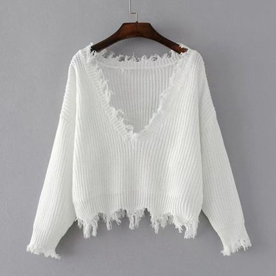 Knitted Sweater For Women Autumn Ripped V-Neck Loose Sweater Pullovers Oversized Ladies Sexy Tassel Sweater Tops