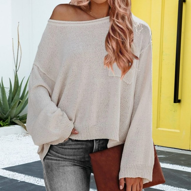 Women Sweater Autume Sexy Knitted Tops Jumper Big Loose Sweater Casual Long Batwing Sleeve O-neck Pullovers Red Sweaters