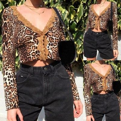 2020 Autumn New Arrival Fashion Slim Sexy Leopard Cardigan Lace Long Sleeve V-Neck Short Tops Women Short Shirt Printed Blousr