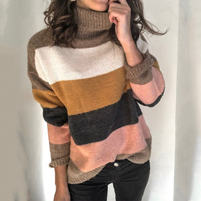 Vintage Striped Women Sweaters Autumn Winter Turtleneck Pullovers Female Knitted Tops Casual Femme Knitwear Oversize Sweater