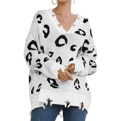 Adisputent Winter 2020 Leopard Print Long Pullovers Sweaters For Women Boho Loose Jumper Pull Femme Long Sleeve Knitted Sweater