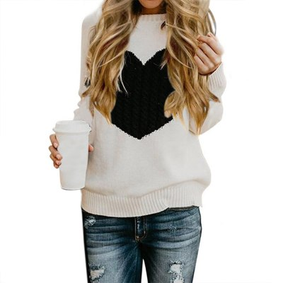 Autumn Women's Sweater Casual Street Clothes Moderate Knitting Pullover Lady Sweater Plus Size Hiver Heart Pattern Long Sleeve
