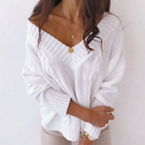 Women Sexy Deep V-neck Sweater Off Shoulder Oversized Knitted Sweater Women Pullover Knitwear Autumn Winter Lady Jumper Sweater