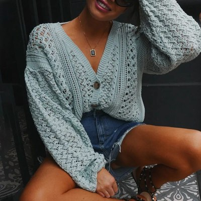 Women Hollow Out V-Neck Sexy Thin Sweaters Spring Autumn Ladies Sexy Casual Loose Bat Long Sleeve Knitted Solid Color Pullovers