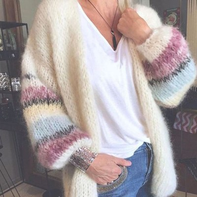 Cardigan Womens Sweaters Candy Color Sweater Knit Cardigan Coat Autumn Winter Striped Long Lantern Sleeve Soft Sweater Dropship