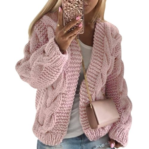 Women Winter Warm Solid Cardigans Long Sleeve Ladies Winter Sweater Cardigans Soft Handfeel Knit For Women Cardigans Dropship