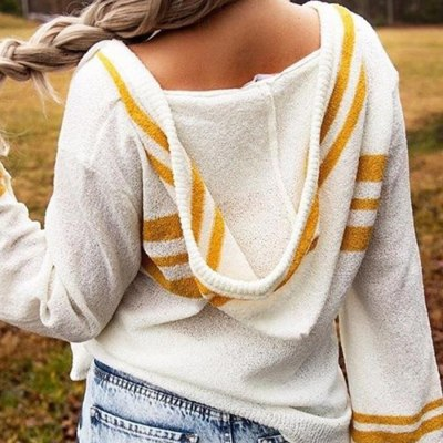 Woman Striped Hooded Sweater Female Flare Sleeve Korean Chic Loose Pullover Jumpers Sweater With Hood Ladies Pull Femme