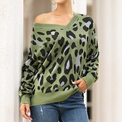 Women Sweater 2020 Spring Autumn Sexy Deep V Neck Long Sleeve Leopard Print Sweater Loose Knitted Pullover Jumper Tops