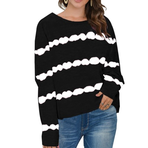 Tie-Dye Print Striped Women T Shirt Casual Long Sleeve O-Neck Tee Tops S-5XL Plus Size Autumn Tshirt 2020 New Fashion Clothing