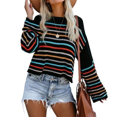 Sweater Womens Rainbow Striped Pullover Sweaters Oversized Loose Knit Crop Tops Hollow Sweater Female Autumn Streetwear