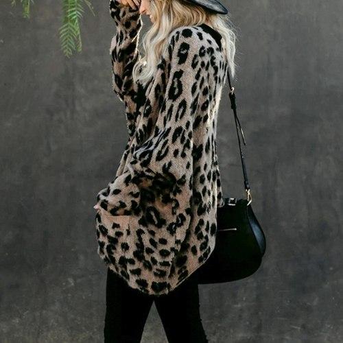Leopard Sweater Cardigan Women Knitted Long Cardigan Long Batwing Sleeve Sweater Coats Female Lady Outwear Coats Autumn