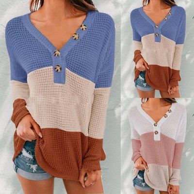 2020 Women Thin Sweater Patchwork Long Sleeve V-Neck Thin Pullovers Sun Protection Button Knitted Pullovers Female Autumn Top