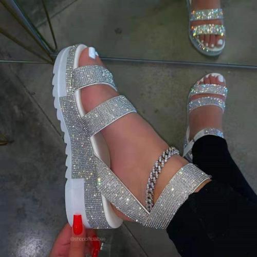 Women Sandals 2021 Summer Sandals Rhinestone Slippers Shoes Open Toe Outdoor Plus Size 36-43 Sandalia Plataforma Zapato Mujer