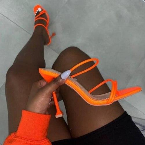 Women Sandals 2021 Summer Heels Sandals Slippers Women High Heels Peep Toe Flip Flops Square Toe Slides Party Shoes Mujer Shoes