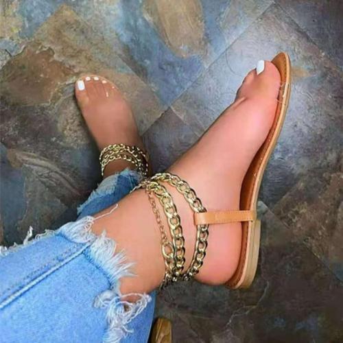 Women Sandals 2021 Summer Beach Sandals Flats Shoes PU Sandals Leather Flip Thong Gothic Chain Sandalias Mujer Sapato Feminino