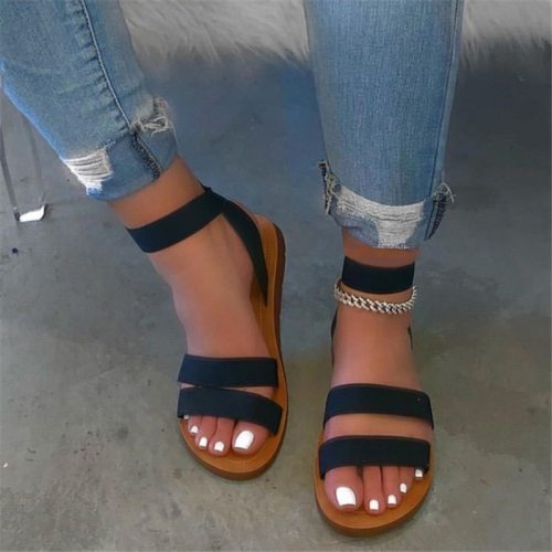 Candy Color Sandals Women Ankle Strap Stretch Fabric Flats Shoes Slip On Summer Female Sandals Plus Size 43 Sandalias Mujer 2021