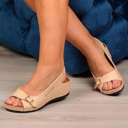 Women Sandals Gladiator Sandalias High Heel Wedges PU Leather Shoes Woman Solid Casual Platform Sandalias Plus Size Ladies Shoes