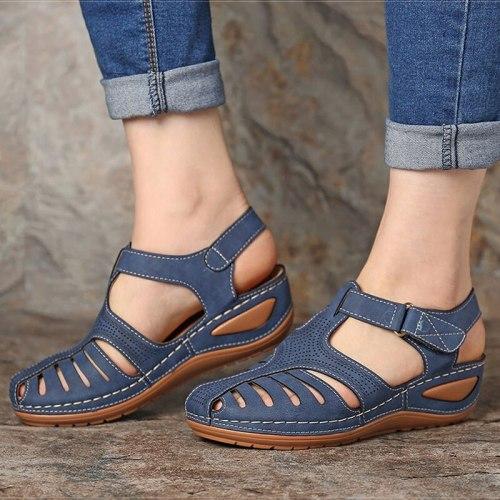 Women Sandals Summer Shoes Woman Plus Size 44 New Vintage Heels Sandals Wedges Chaussure Femme Casual Gladiator Sandalen Dames
