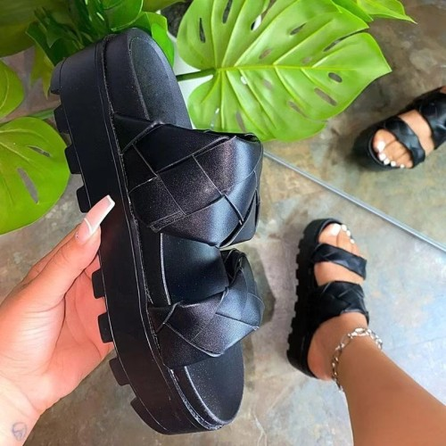 Summer Slippers Weaving Women Slippers Wedges Height Increasing Solid Slides Outdoor Beach Sandals Female 2021 Zapatillas Mujer