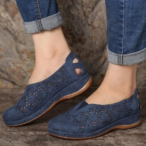 Women Sandals 2021 Vintage Casual Ladies Flats Shoes Sandals Women Summer Hollow Out Breathable Wedges Shoes Slip On Female Shoe