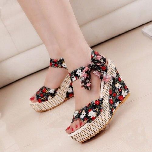 Summer Sandals Beach Boho Floral Wedge Sandals Women Ankle Strap Platform Gladiator Shoes Woman High Heels Sandalias Mujer 2021