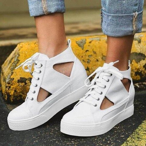 Women Leopard Sneakers Sandals Fretwork Lace-up Flat Shoes Ladies Platform Shoes Female Print Casual Sewing 2021 High Top Shoes