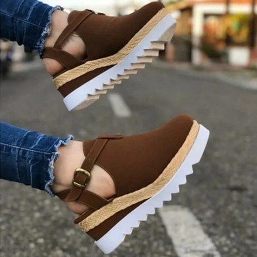 Women's Sandals Slipper Vintage Wedge Shoes Woman Buckle Strap Straw Thick Bottom Flats Platform Sandals Flock Shoes Summer 2021