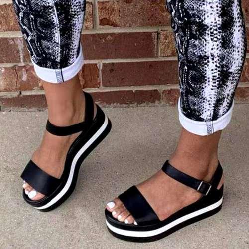 Big Size 35-43 New Ladies Flat Platform Summer Sandals Mixed Colors Wedges Sandals Shoes Women 2021 Casual Light Beach Shoes