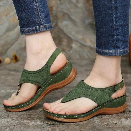 Women Sandals Summer Sandals Wedges Fashion Flip Flops Open Toe Sexy Solid Buckle Beach Sandals Slipper Ladies Plus Size Sandals