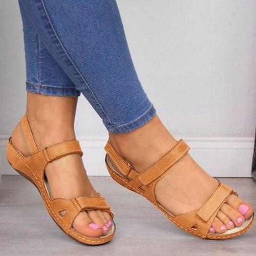 Women Sandals Summer Open Toe Comfy Sandals Super Soft Premium Orthopedic Low Heels Walking Sandals Open Toe Corrector Cusion